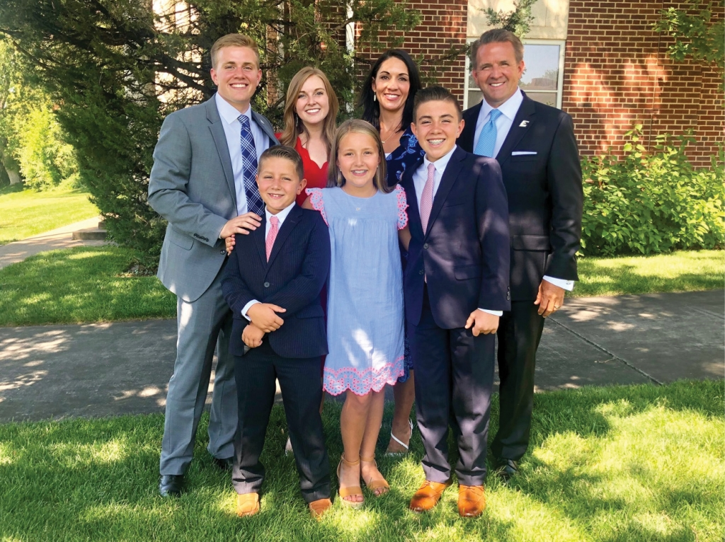 The Benson family in summer 2019. Back row: Samuel, Emma, Debi, Michael; front row: Talmage, Tatum, Truman.