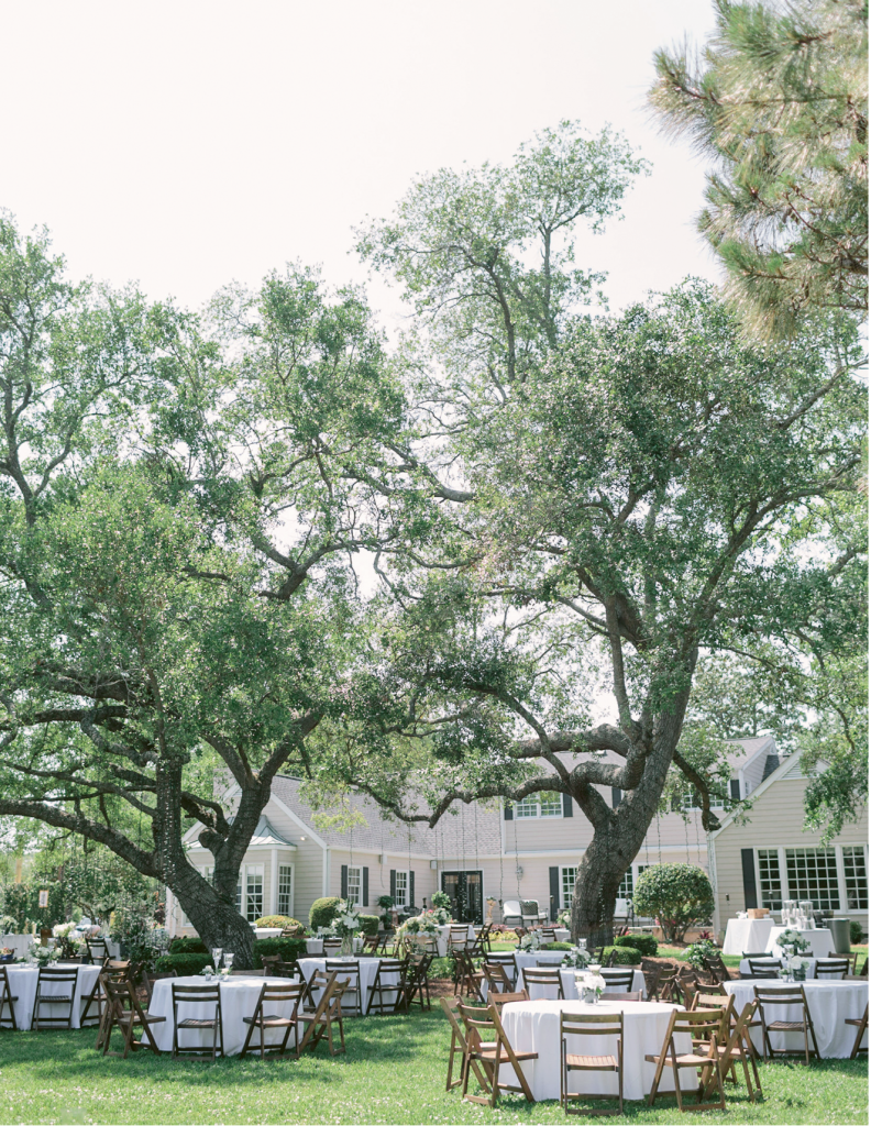 Residential Reception: Caroline always envisioned her wedding reception in her parents' beautiful backyard.